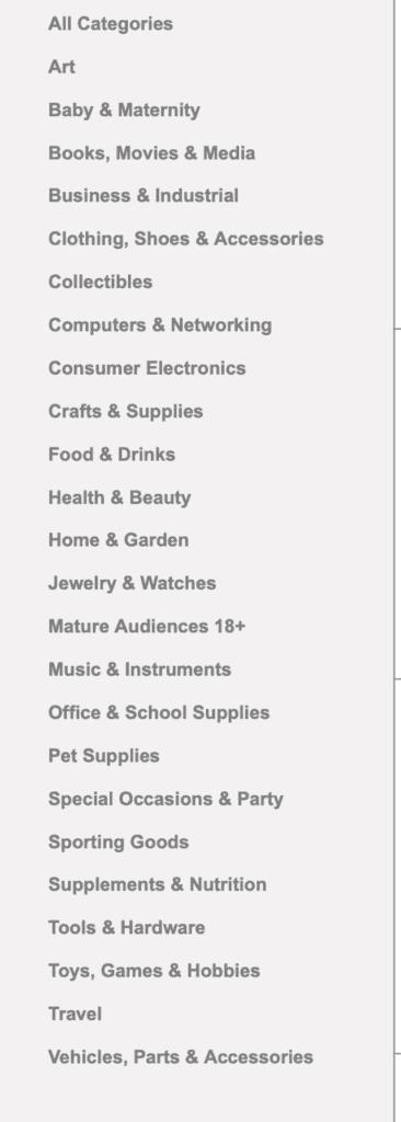 worldwide brand categories