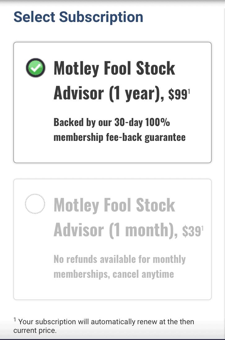 How much is Motley Fool Stock advisor
