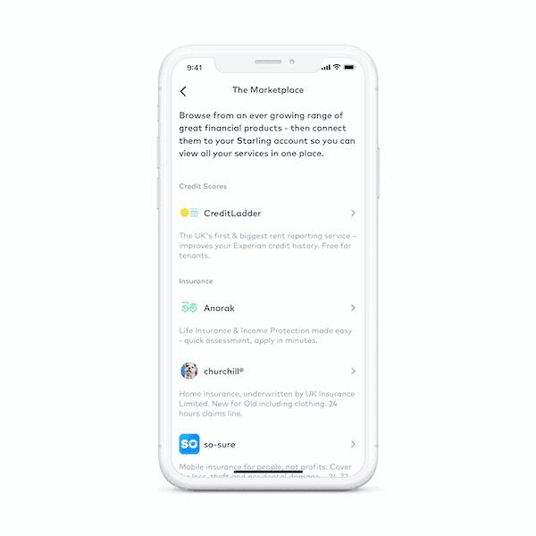 Starling bank app marketplace