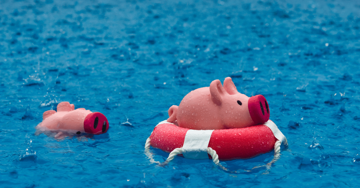 Consequences of not saving money 2 piggy banks out at sea, showing drowning savings