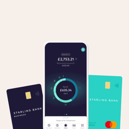 what is starling bank? image shows starling current account, starling business debit card and starling app