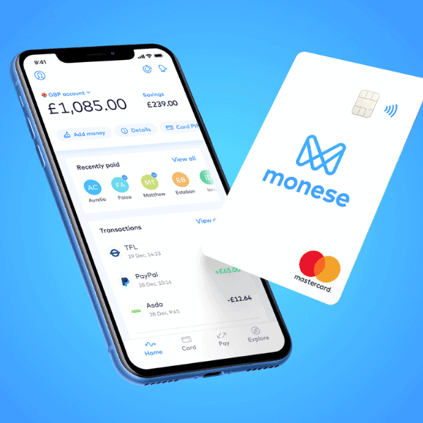 Monese budgeting tools and savings pot in Monese app