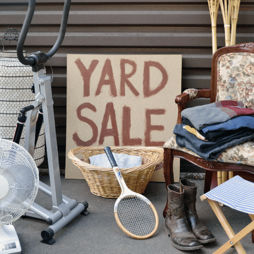 yard sale to save on baby stuff